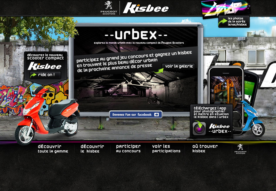 peugeot kisbee webdesign concept urbex accueil